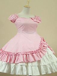 One-Piece/Dress Sweet Lolita Classic/Traditional Lolita Elegant Princess Cosplay Lolita Dress Fashion Solid Color Cap Short SleeveShort /