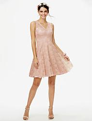 2017 LAN TING BRIDE Short / Mini V-neck Bridesmaid Dress - Elegant Sleeveless Lace