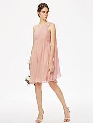 LAN TING BRIDE באורך  הברך כתפיה אחת שמלה לשושבינה  - גב פתוח ללא שרוולים שיפון