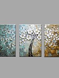 מצויר ביד פרחוני/בוטני מאוזן,מודרני פסטורלי שלושה פנלים בד ציור שמן צבוע-Hang For קישוט הבית