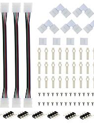 Sada konektoru pro 4 pásky rgb 4-vodičový 10 mm s 5pcs tvarovým pájecím konektorem 5ks konektor bez mezikusu
