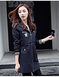 Women's Going out Casual/Daily Simple Street chic Spring Fall Coat,Letter Shirt Collar Long Sleeve Regular Cotton