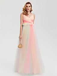 TS Couture Serata formale Vestito - A blocchi di colore Stile VIP Linea-A Con bretelline Lungo Tulle con A incrocio A pieghe
