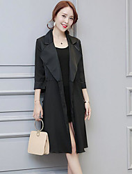 Women's Casual/Daily Simple Spring Trench Coat,Solid Notch Lapel Long Sleeve Long Nylon