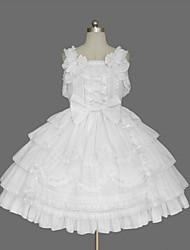 One-Piece/Dress Classic/Traditional Lolita Elegant Princess Cosplay Lolita Dress Fashion Solid Color Cap Short Sleeve Short / MiniTuxedo
