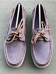 Men's Boat Shoes Comfort Leather Tulle Spring Casual Comfort Camel Flat