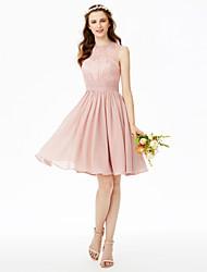 2017 LAN TING BRIDE Knee-length Jewel Bridesmaid Dress - Beautiful Back Elegant Sleeveless Chiffon Lace