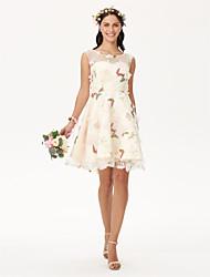 Ke kolenům Klenot Šaty pro družičky - Květinové Otevřená záda Bez rukávů Organza