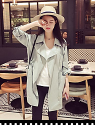 Women's Going out Simple Spring Trench Coat,Solid Shirt Collar Long Sleeve Regular Others