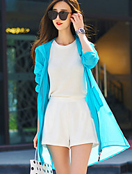 Women's Casual/Daily Beach Holiday Simple Summer Trench Coat,Solid Hooded Long Sleeve Long Acrylic Polyester