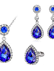 Choker Necklaces Crystal Circular Crystal Circle Purple 1 Necklace Earrings For Wedding Engagement Daily 2 pc Wedding Gifts