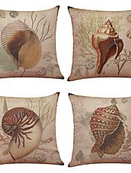 4 ks Lněný Přírodní / bio Polštářový potah Povlak na polštář,Jednolitý S texturouPlážový styl Módní a moderní Obchodní a kancelářský