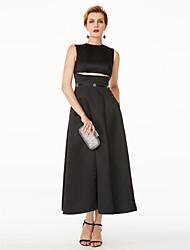 TS Couture Evento Formal Vestido - Vestiditos Negros Estilo de Celebridad Corte en A Joya Hasta el Gemelo Satén conLazo(s) Detalles de