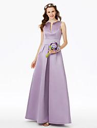LAN TING BRIDE Hasta el Suelo Muesca Vestido de Dama de Honor - Elegante Sin Mangas Satén