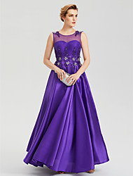 2017 Evening Party Formal Dress - See Through Elegant A-line Jewel Floor-length Satin with Crystal Applique Pleats