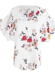 Feminino Camiseta Para Noite Casual Simples Verão,Floral Poliéster Decote V Manga Curta Fina