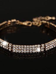 Mulheres Pulseiras em Correntes e Ligações Zircônia cúbica Moda Vintage Cristal Strass Formato Circular Jóias Para Casamento Festa1