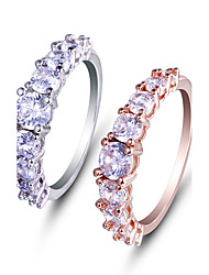 Ring Engagement Ring AAA Cubic Zirconia Fashion Simple Style Elegant Rose Gold Platinum  Round Jewelry For Wedding Party 2PCS