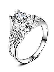 Prsten Zásnubní prsten Kubický zirkon Módní Klasický Elegantní Zirkon Postříbřené Circle Shape Šperky Pro Svatební Párty 1 set