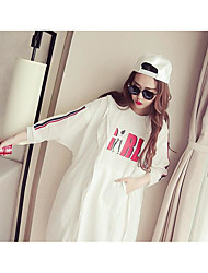 Women's Casual/Daily Sexy Cute Spring Trench Coat,Solid Round Neck Long Sleeve Regular Polyester