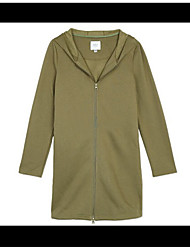 Women's Going out Simple Spring Fall Trench Coat,Solid Hooded Long Sleeve Long Others