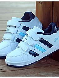 בנים נעלי ספורט PU אביב סתיו הליכה סקוטש עקב נמוך לבן וכחול לבן וירוק צבע מסך שטוח