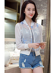Women's Casual/Daily Sexy Spring Summer Trench Coat,Print Cowl Long Sleeve Short Silk