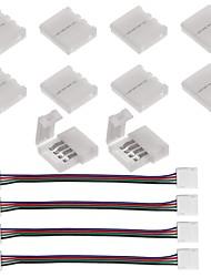 10ks 4pinový páskový konektor pro 5050 rgb LED kontrolky a 4ks led 5050 rgb pásková světelná zástrčka 4 vodiče 10 mm široký pásek pro