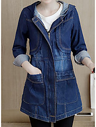 Women's Going out Casual/Daily Simple Street chic Spring Coat,Solid Hooded Long Sleeve Long Cotton