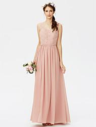 2017 LAN TING BRIDE Floor-length V-neck Bridesmaid Dress - Open Back Sleeveless Chiffon Lace