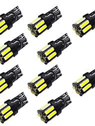 10pcs w5w t10 / t4w ba9s לוח 10smd 7020 אורות קריאה להראות אורות רחב לבן / כחול dc12v 2w