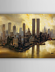Hand-Painted Abstract Building Oil Painting With Stretcher For Home Decoration Ready to Hang