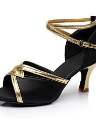 Obyčejné Dámské Latina Satén Sandály Uvnitř Na zakázku Černá