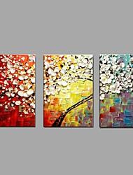 Pintados à mão Floral/Botânico Horizontal,Moderno Pastoril 3 Painéis Tela Pintura a Óleo For Decoração para casa