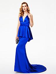TS Couture Evento Formal Vestido - Estilo de Celebridad Espalda Abierta Trompeta / Sirena Halter Larga Satén Estirado con Lazo(s) Plisado