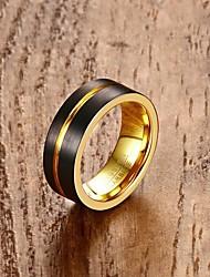 Anel Anel de noivado Moda Personalizado Clássico Aço tungstênio 18K ouro Forma Redonda Jóias Para Casamento Festa Noivado Diário1
