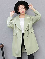 Women's Going out Casual/Daily Simple Street chic Spring Fall Trench Coat,Solid Shirt Collar Long Sleeve Long Cotton