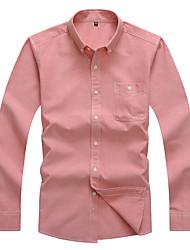 Masculino Camisa Social Casual Trabalho Simples Todas as Estações Primavera,Sólido Algodão Poliéster Colarinho de Camisa Manga Longa Média