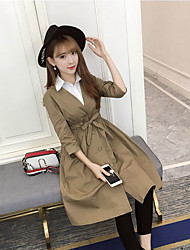 Women's Going out Casual/Daily Vintage Simple Street chic Spring Fall Trench Coat,Solid V Neck 3/4 Length Sleeve Long Others