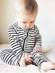 Baby Infants And Young Children Cotton Fashion Cartoon Pinstripe Long Sleeve Clothing Jumpsuit Climb Clothes