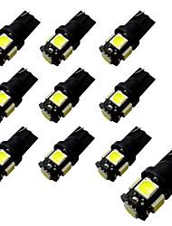 10pcs ba9s / t10 לוח 2w 5 * 5050 smd הוביל קריאה אור לבן אור 6500-7000k 12v
