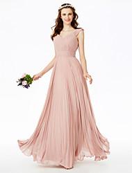 LAN TING BRIDE עד הריצפה צווארון V שמלה לשושבינה  - גב פתוח אלגנטי שיפון