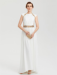 TS Couture Formel aften Kjole - Berømmelse stil Tube / kolonne Rund hals Assymetrisk Jerseystof med Perlearbejde