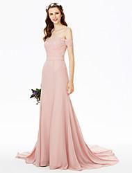 2017 LAN TING BRIDE Sweep / Brush Train Off-the-shoulder Bridesmaid Dress - See Through Sexy Short Sleeve Chiffon Lace