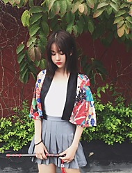Women's Casual/Daily Cute Summer Trench Coat,Print Stand 3/4-Length Sleeve Short Cotton