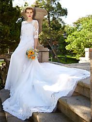Corte en A Vestido de novia - Glamouroso Espalda Bonita Encaje Floral Catedral Joya Tul con Cuentas Botón Apliques