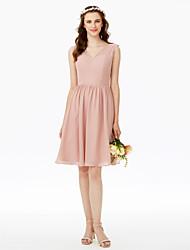 LAN TING BRIDE באורך  הברך צווארון וי שמלה לשושבינה  - אלגנטי ללא שרוולים שיפון