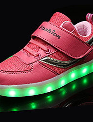 בנים נעלי אתלטיקה נוחות טול אביב סתיו אתלטי הליכה נוחות שרוכים LED עקב שטוח שחור כחול ורוד שטוח