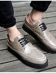 גברים נעלי ספורט נוחות דמוי עור גומי אביב יומיומי לבן שחור אפור שטוח