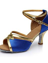 Obyčejné Dámské Latina Satén Sandály Uvnitř Na zakázku Modrá
